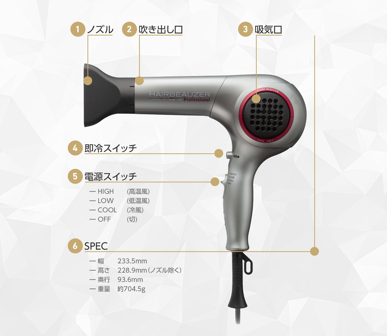 ヘアビューザー 2D Plusは即冷スイッチを活用して冷風と温風を交互にお使いください