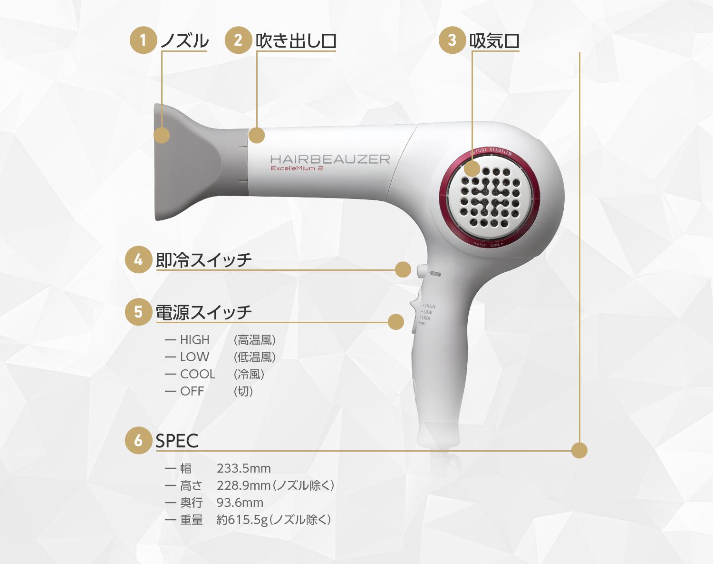 ヘアビューザー エクセレミアム 2は即冷スイッチを活用して冷風と温風を交互にお使いください